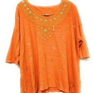 J Jill Love Linen Orange Sequinned Embroidered Top